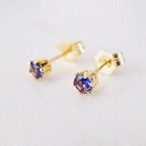 New 3mm iolite 14k gold filled stud earrings